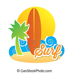 surfboard icon over white background. vector illustration