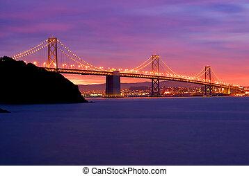 San Francisco - Oakland Bay Bridge at night