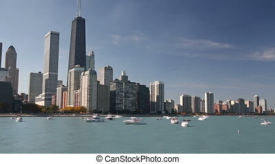 Boats and Chicago Skyline - Scenic view of the Northern...