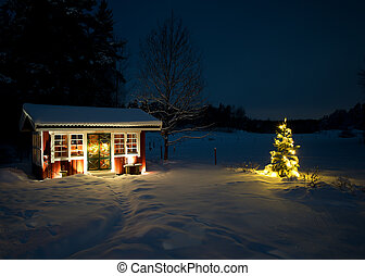 Christmas night - A night view of the snowy garden house...