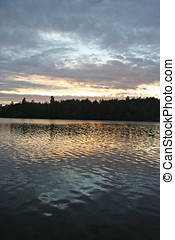 Sunset Reflected in Rippled Lake