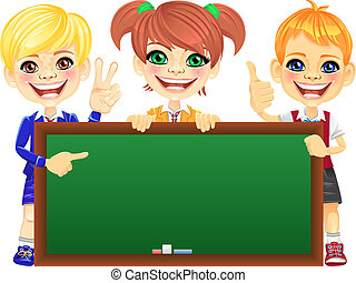 Vector happy smile kids with banner Blackboard - Smiling...