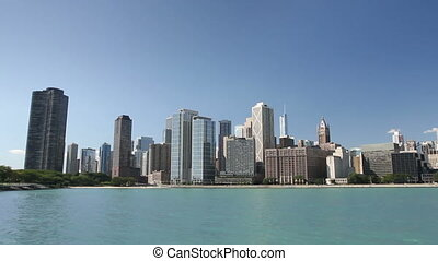 Chicago Skyline from the Water - Panning across the Chicago...