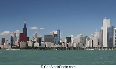 Chicago Skyline from Water - Panning across the Chicago...