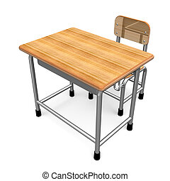 School Desk Front View 3D render illustration Isolated on...
