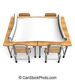 BigPaper On School Desks Front View. 3D render illustration....