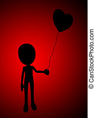 Love Balloon Silhouette - Figure holding a balloon that is...