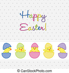 Happy Easter - Baby Chicks Easter card in vector format