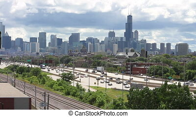 City Skyline and Traffic 2 - The Chicago skyline and the...