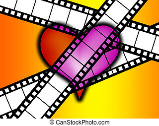I Love Film - Heart showing a conceptual love of film and...