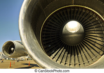 Jet Engines on a Jumbo Jet - A view of the turbofan jet...