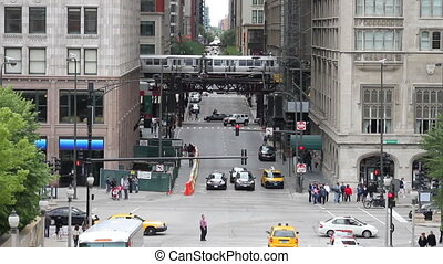 Downtown Streets - High angle of a Michigan Avenue...