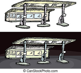 Generic Gas Station - Gas filling station in isolated and...