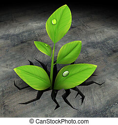 green plant in asphalt - abstract 3d illustration of green...