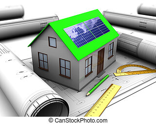 green house - 3d illustration of house with solar panel and...