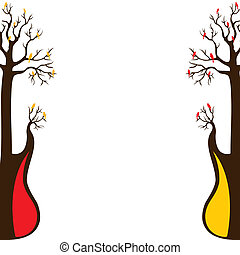 abstract guitar tree and bird stock vector