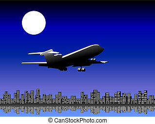 Airplane taking off at night - Airplane flying over the city...