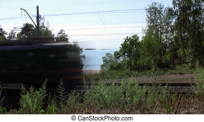 Time lapse Railroad near the sea