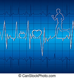 heart beat graph in blue background