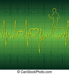 green heart beat graph background