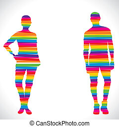 color couple design with strip
