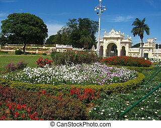 Garden before Mysore Palace gate-II - A beautiful garden...