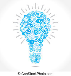 blue gear design blub - bulb design with blue gear stock...