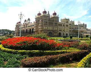 Garden in Indian Palace of Mysore - A beautiful garden in an...