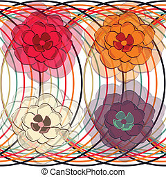 Floral seamless pattern with circle