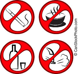 Vector prohibiting signs - Vector round prohibiting signs....