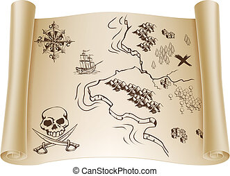 Old Treasure map on scroll - An illustration of an old...