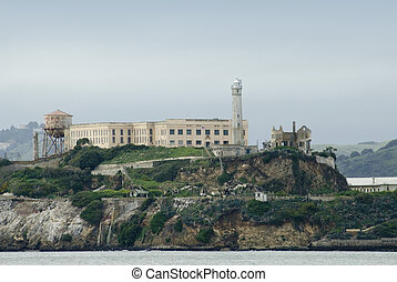 Alcatraz Island prison in San Francisco Bay - The famous...