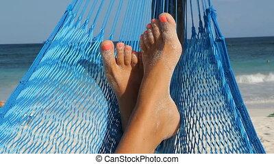 Hammock feet.  - Feet up in a hammock. Tulum, Mexico.