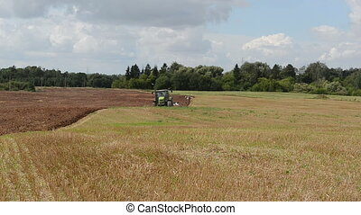 agriculture work autumn - tractor work plow agriculture...