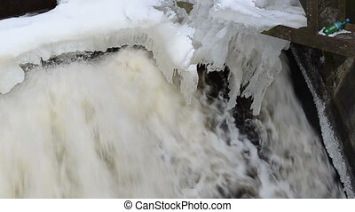 water stream dam ice