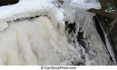 water stream dam ice