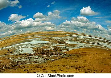 Landscape Of Ravaged Ground - Summer Landscape Of Ravaged...