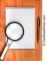 Writing Pad And Loupe - Blank Writing Pad and Pen and Loupe...