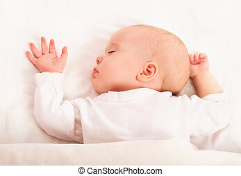 cute baby sleeping in the bed - cute baby sleeping in white...