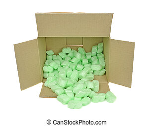 Cardboard Box with Packing Chips - A cardboard box with...
