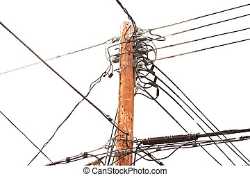 Utility pole hung with electricity power cables