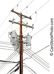 Utility pole with power cables and transformers - Utility...