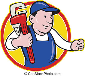Plumber With Monkey Wrench Cartoon - Illustration of a...