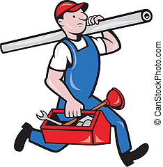 Plumber With Pipe Toolbox Cartoon - Illustration of a...