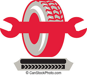 Tire With Spanner Wrench Retro