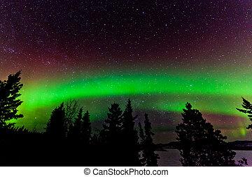 verde, brillo, norteño, luces, o, aurora, borealis