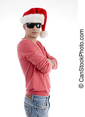 handsome man with christmas hat