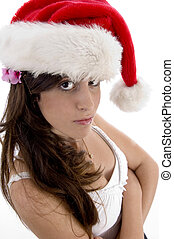 glamorous woman with christmas hat