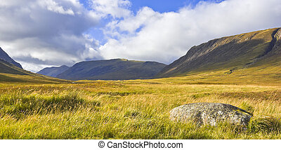 Glencoe, Highlands of Scotland - Moorland and mountains in...
