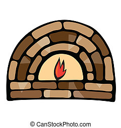 Abstract painted fireplace Illustration on white background
